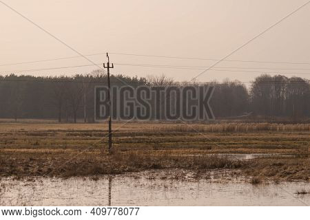Early Spring. Vast, Flat Terrain. Meadow Covered With Dry Yellow Grass. The Depressions Of The Area
