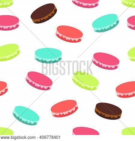 Macaroons Biscuits Vector Illustration In Flat Design Seamless Pattern With Multicolored French Almo