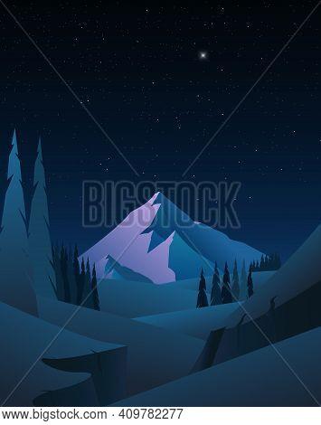 Mountain Landscape Nvector Illustration Beautiful Landscape With Mountains Night Scene Vector Illust