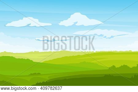 Spring Landscape With A Dawn, An Elongated Format For The Convenience Of Using It As A Background. V