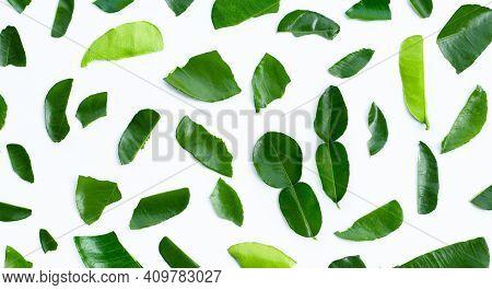 Bergamot Kaffir Lime Leaves Herb Fresh Ingredient Isolated On White Background.
