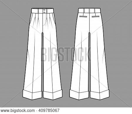 Pants Oxford Tailored Technical Fashion Illustration With Low Waist, Rise, Full Length, Double Pleat