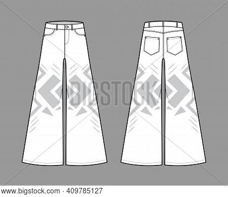 Phat Pants Denim Jeans Technical Fashion Illustration With Full Length, Low Waist, Rise, 5 Pockets,
