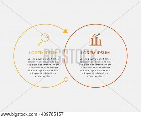 Minimal Business Infographics Template. Timeline With 2 Steps, Options And Marketing Icons .vector L