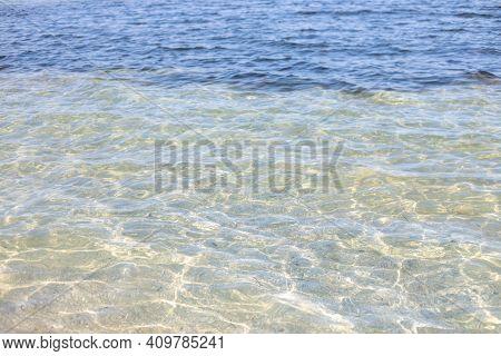 Black Sea Clear Blue  Water Near   Island In Skadovsk Ragion, Kherson Oblast Near Crimea. Europe.  T