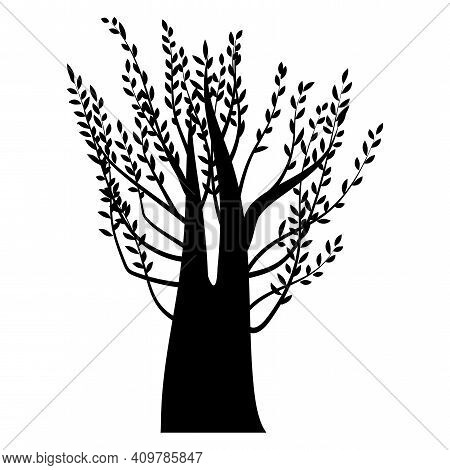 Illustration With Thick Tree Black. Vintage Nature Illustration. Silhouette Vector. Stock Image. Eps