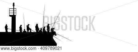 Silhouettes Of Fishermen With Fishing Rods On Pier With Lighthouse Isolated On White. Lots Of People
