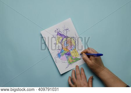 Mental Health, A Modern Method Of Art Therapy, Neurographics. The Hands Of An Adult Woman Draw An Ab