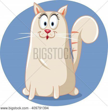 Cute White Purebred  Cat Vector Cartoon Illustration
