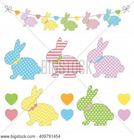 Set Of Easter Bunny Templates With Different Ornaments For Crafting A Festive Garland For Holy Easte
