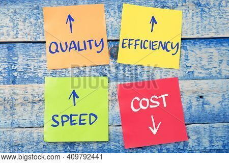 Quality Efficiency Speed Cost, Text Words Typography Written On Paper Against Wooden Background, Bus