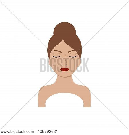 The Face Of A Beautiful Girl With Beautiful Eyes Isolated On A White Background. Logo Design Of A Be