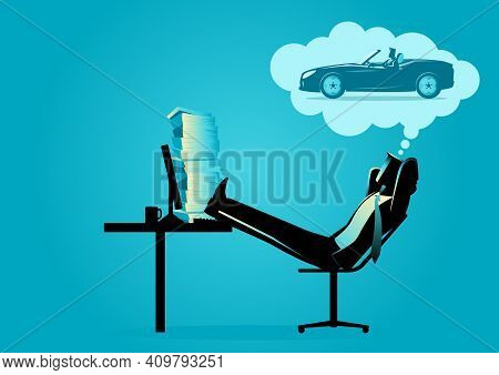 Business Concept Vector Illustration Of A Businessman Daydreaming About Driving A Sport Car