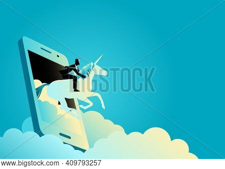 Business Concept Vector Illustration Of A Businessman Riding A Unicorn Comes Out From Cellular Phone