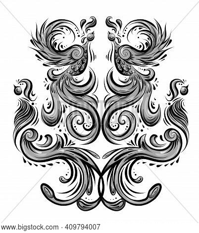 Bird Pattern With Curled Tails And Wings. Symmetrical Decoration In Shades Of Gray. Vintage Curled A