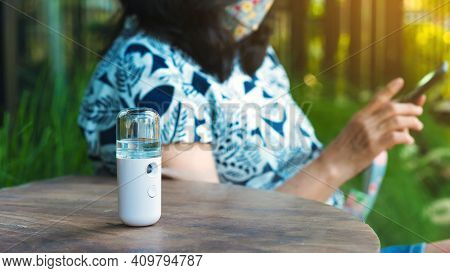 Alcohol Nano Mist Sprayer For Hand Cleaning To Prevent The Spread Of Corona Virus (covid-19) Placed