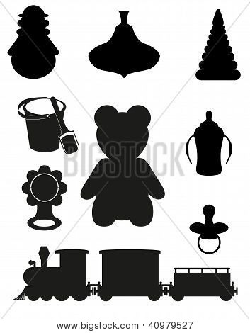 Icon Of Toys And Accessories For Babies And Children Black Silhouette