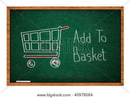 Add To Basket On Green Chalkboard