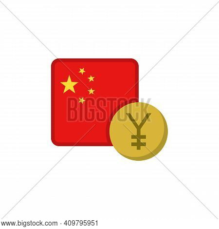 Chinese Yuan Money And Flag Flat Icon, Vector Sign, China Currency With Flag Colorful Pictogram Isol