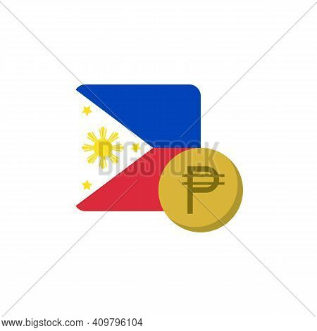 Philippines Money And Flag Flat Icon, Vector Sign, Peso Currency With Flag Colorful Pictogram Isolat