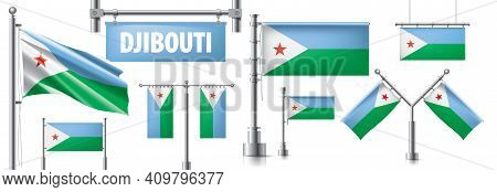 Vector Set Of The National Flag Of Djibouti In Various Creative Designs