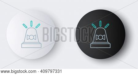 Line Flasher Siren Icon Isolated On Grey Background. Emergency Flashing Siren. Colorful Outline Conc