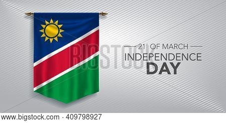 Namibia Independence Day Greeting Card, Banner, Vector Illustration