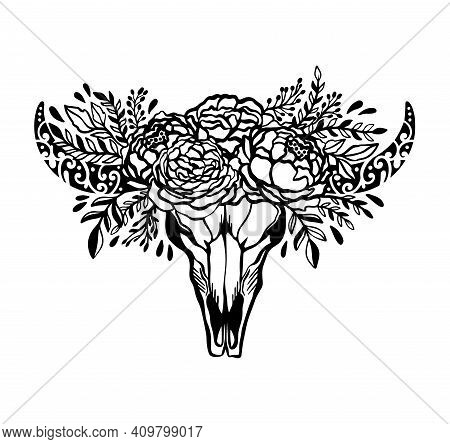 Skull Cow Flower Floral Rose.ethnic Symbol Decoration Native.boho Style American Style.isolated Ni W