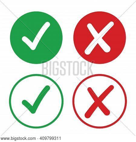 Check And Uncheck Icon Vector. Validation Icon Vector. Checkmark And X Mark Icon.