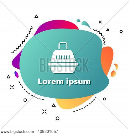 White Pet Carry Case Icon Isolated On White Background. Carrier For Animals, Dog And Cat. Container