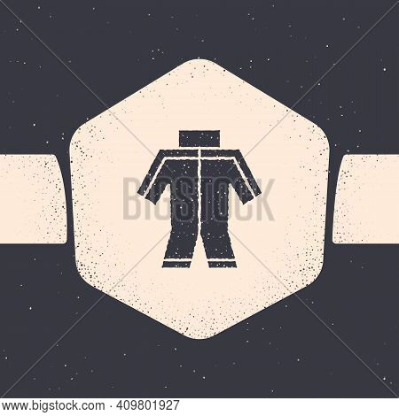 Grunge Wetsuit For Scuba Diving Icon Isolated On Grey Background. Diving Underwater Equipment. Monoc