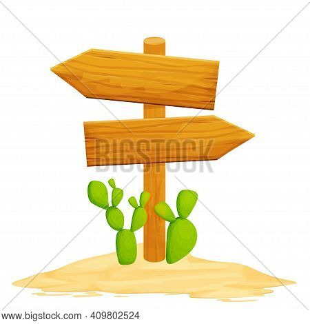 Wood Directional Billboard With Desert Sand And Cactus Isolated On White Background In Cartoon Style