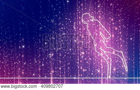 Silhouette Of Diver. Icon Diver. The Concept Of Sport Diving. Thin Line Style. 3d Rendering. Neon Sh