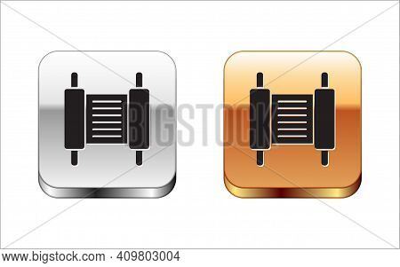 Black Torah Scroll Icon Isolated On White Background. Jewish Torah In Expanded Form. Star Of David S