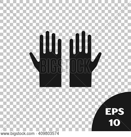 Black Medical Rubber Gloves Icon Isolated On Transparent Background. Protective Rubber Gloves. Vecto
