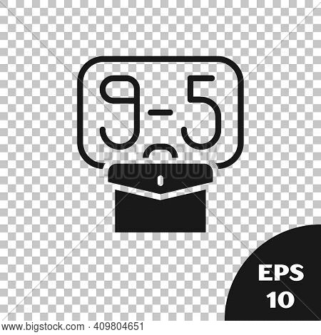 Black From 9:00 To 5:00 Job Icon Isolated On Transparent Background. Concept Meaning Work Time Sched