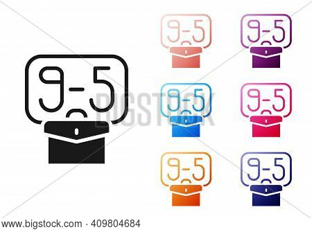 Black From 9:00 To 5:00 Job Icon Isolated On White Background. Concept Meaning Work Time Schedule Da