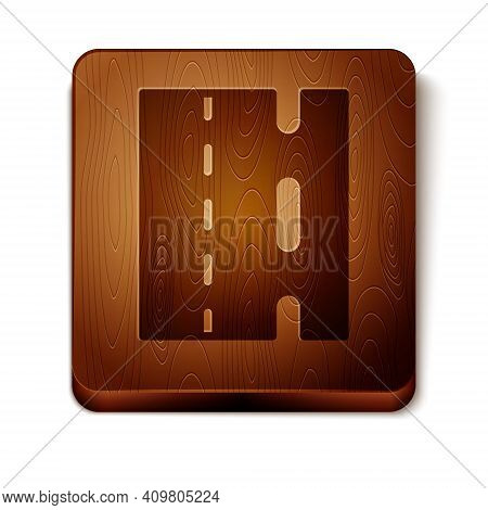 Brown Special Bicycle Ride On The Bicycle Lane Icon Isolated On White Background. Wooden Square Butt