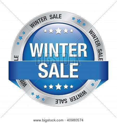 Sale Winter Button Blue Silver