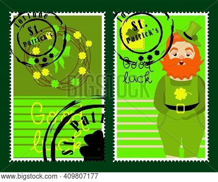 St Patrick's Day Stamps. Postage Stamps For Letters. Patrick's Stickers. Good Luck. Hand Drawn Vecto