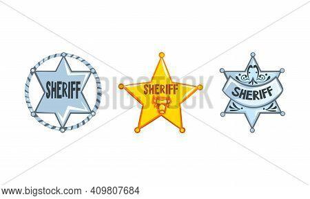 Sheriff Stars Badges Set, Western Ranger Sheriff Signs Cartoon Vector Illustration