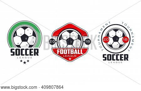 Soccer Football League Logo Templates Set, Sports Team Identity, Championship, Game Tournament Badge