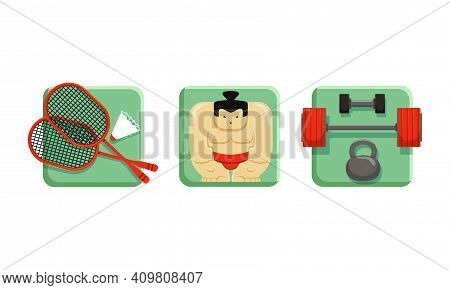 Square Sport Icons Set, Tennis, Sumo, Weightlifting, Flat Vector Illustration