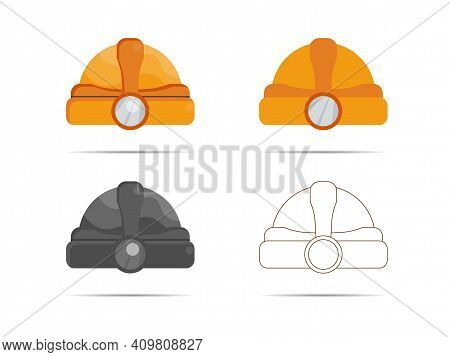 Hardhat Icon With Color Variations. Vector Illustration.