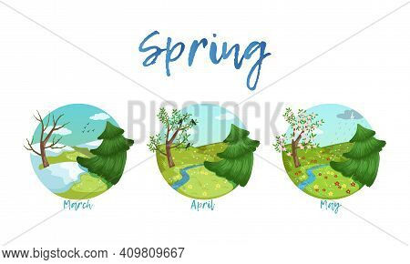 Spring Season Nature Landscape Set, March, April, May Months Of The Year Cartoon Vector Illustration