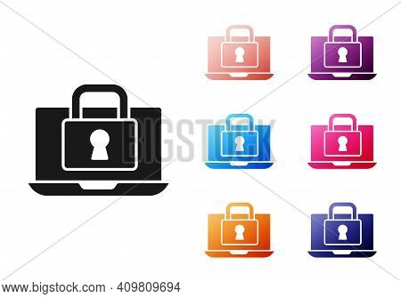 Black Laptop And Lock Icon Isolated On White Background. Computer And Padlock. Security, Safety, Pro