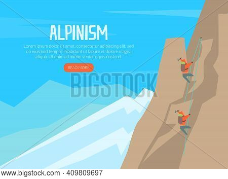 Alpinism Landing Page, Alpinist Climbing On Top Of Mountain, Mountaineering, Climbing And Adventure