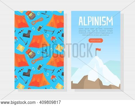 Alpinism Landing Page, Mountaineering, Climbing And Adventure Web Page, Onboard Screen Interface Car