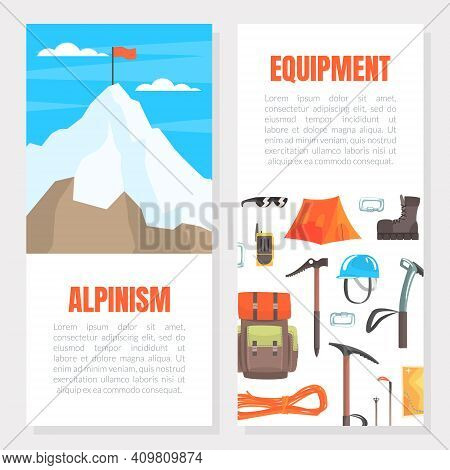 Alpinism Equipment Banner Template Wuth Space For Text, Hiking Accessories And Garments Shop, Store