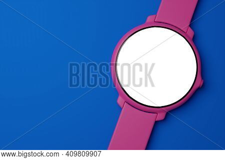 3d Illustration  Purple Wrist Watch With Round White  Dial On Blue  Isolated Background